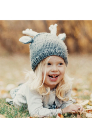 The Blueberry Hill Hartley Deer Gray Knit Hat - Front full body
