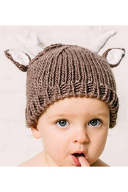The Blueberry Hill Hartley Deer Tan Knit Hat - Front full body