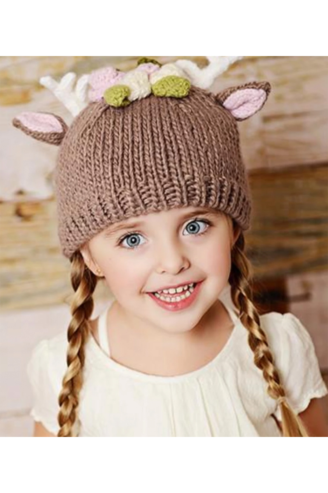 The Blueberry Hill Hartley Deer With Flowers Knit Hat - Front Full Image