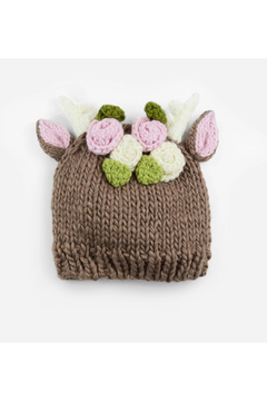 The Blueberry Hill Hartley Deer With Flowers Knit Hat - Product List Image