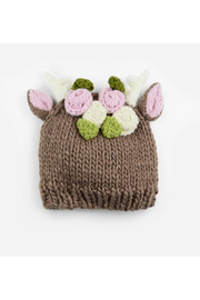 The Blueberry Hill Hartley Deer With Flowers Knit Hat - Front cropped