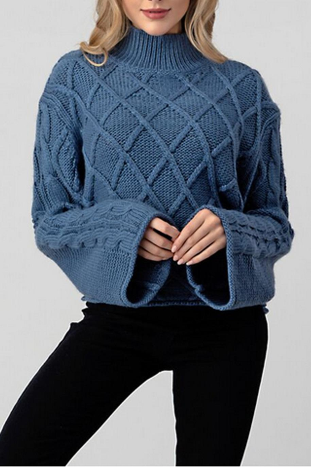 Hashttag Bell Sleeve Sweater - Front Full Image