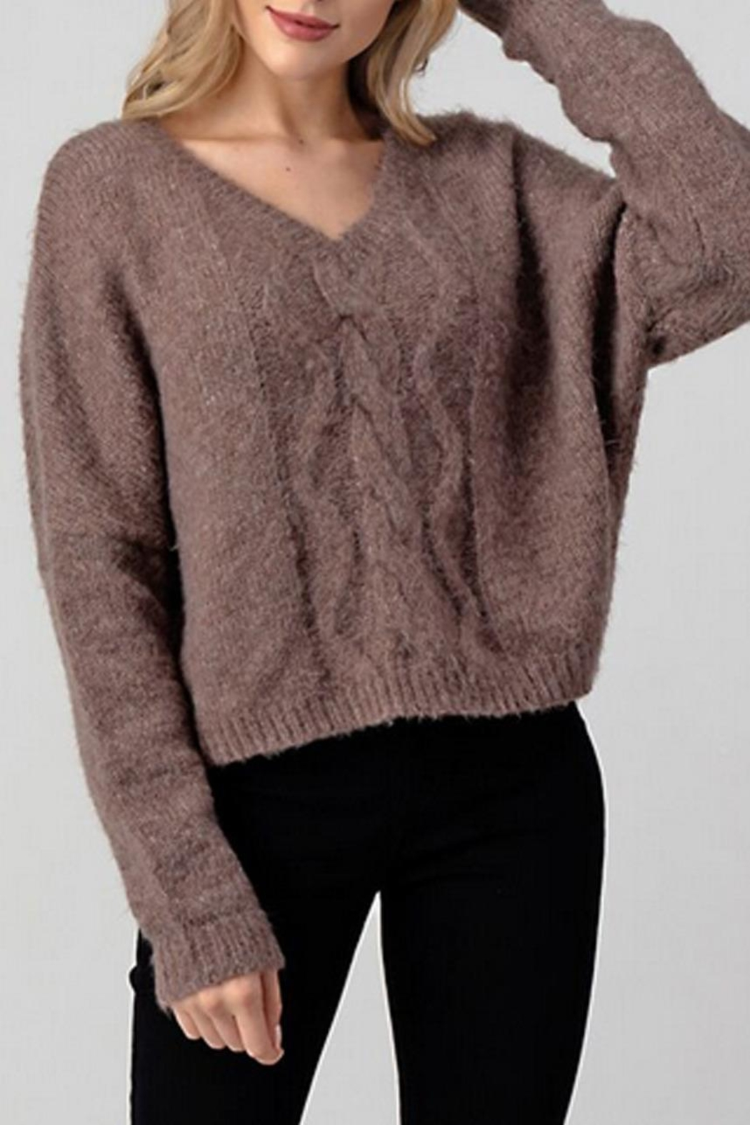 Hashttag Cable Knit Sweater - Main Image