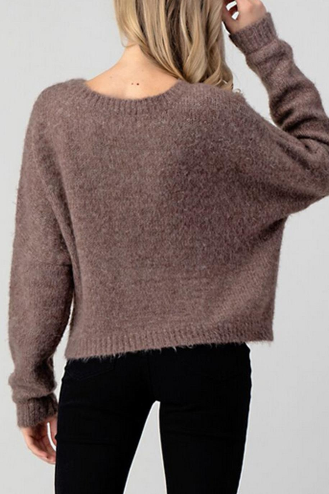 Hashttag Cable Knit Sweater - Side Cropped Image