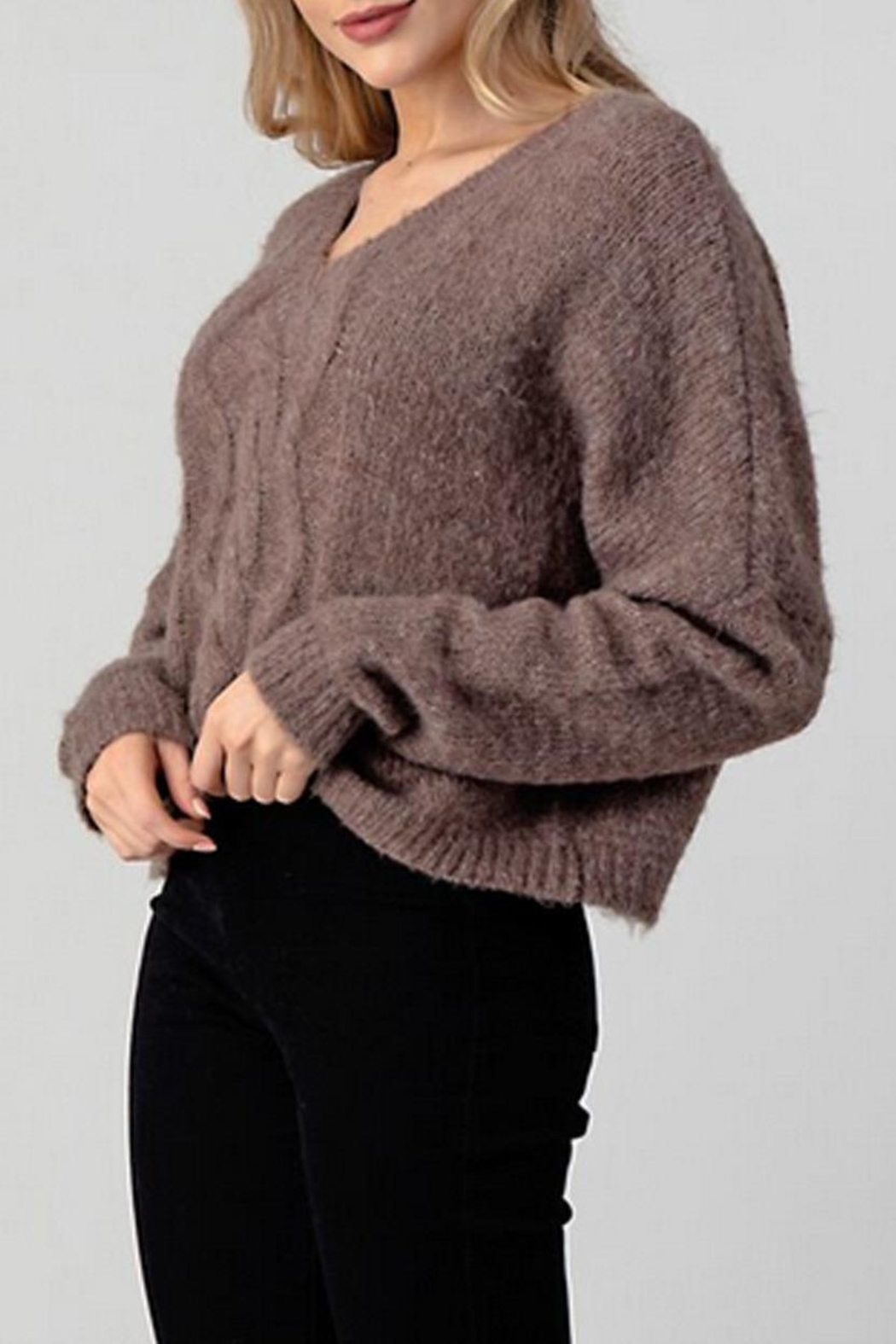 Hashttag Cable Knit Sweater - Front Full Image