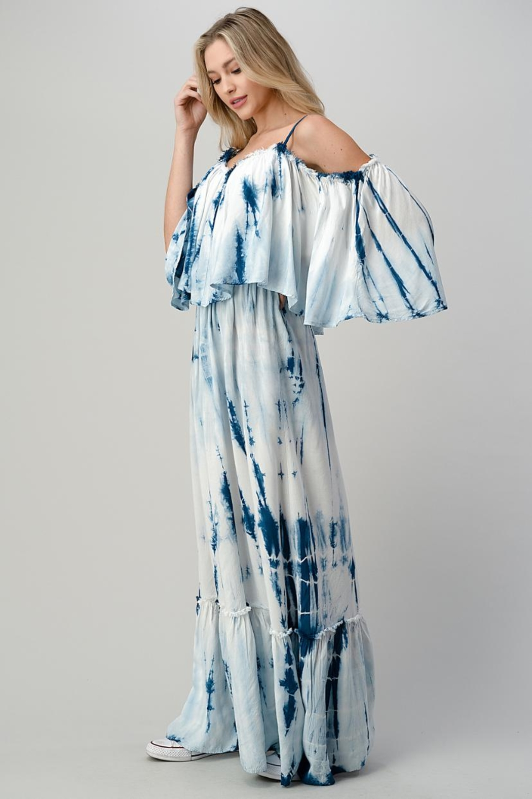 Hashttag Cold-Shoulder Tie-Dye Maxi - Side Cropped Image