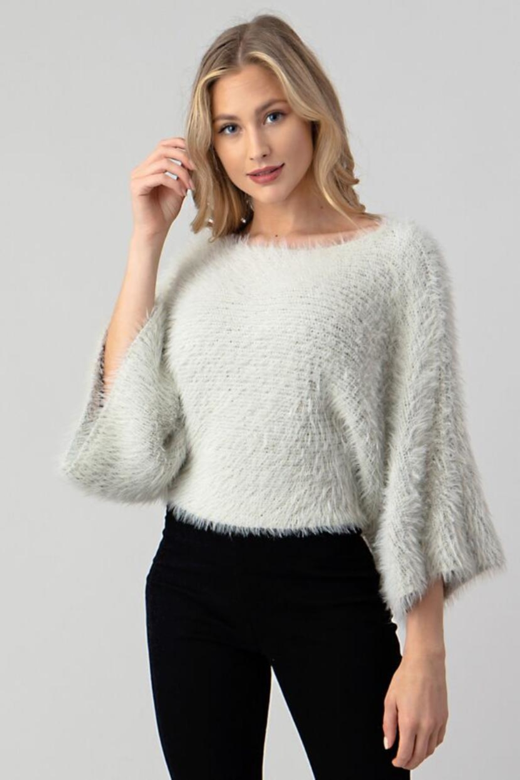 Hashttag Faux Fur Top - Front Cropped Image