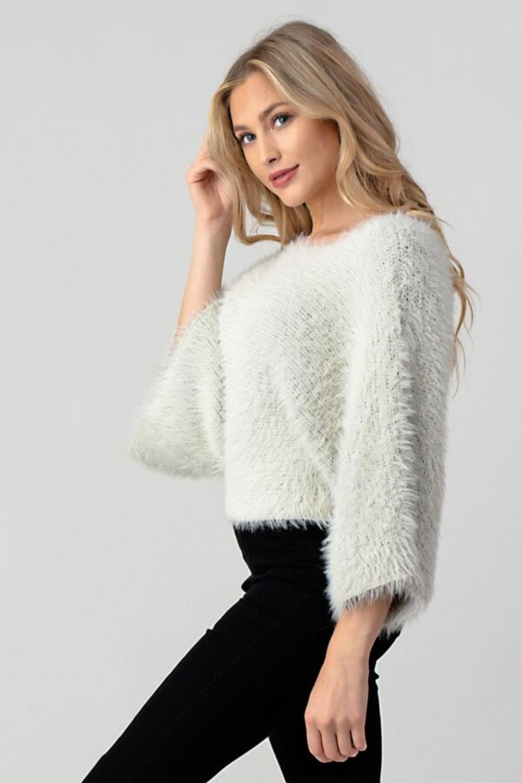 Hashttag Faux Fur Top - Side Cropped Image