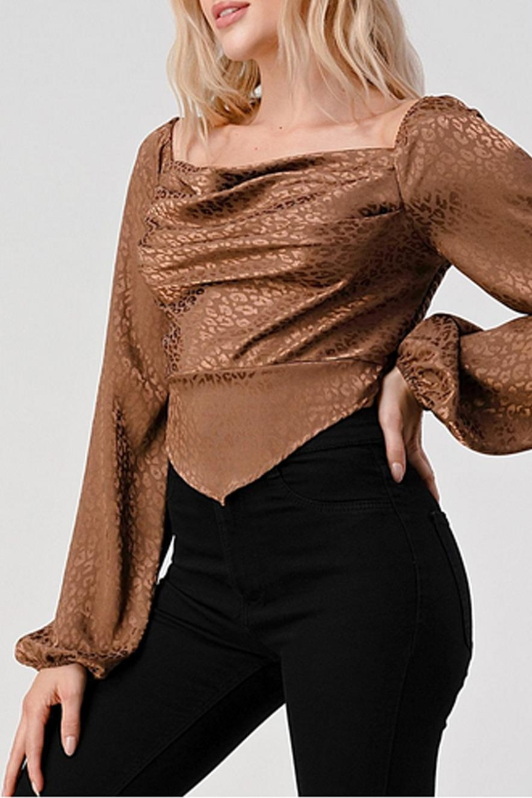 Hashttag Leopard Satin Top - Side Cropped Image