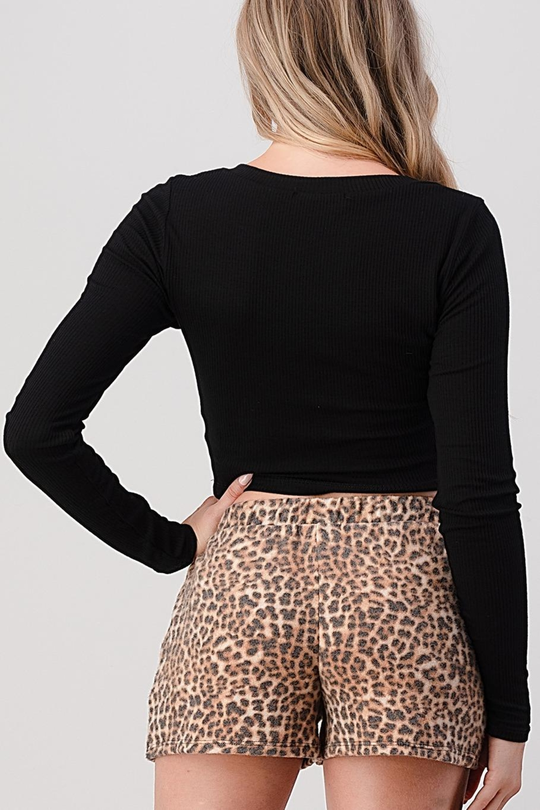 Hashttag Ribbed Crop Top - Side Cropped Image
