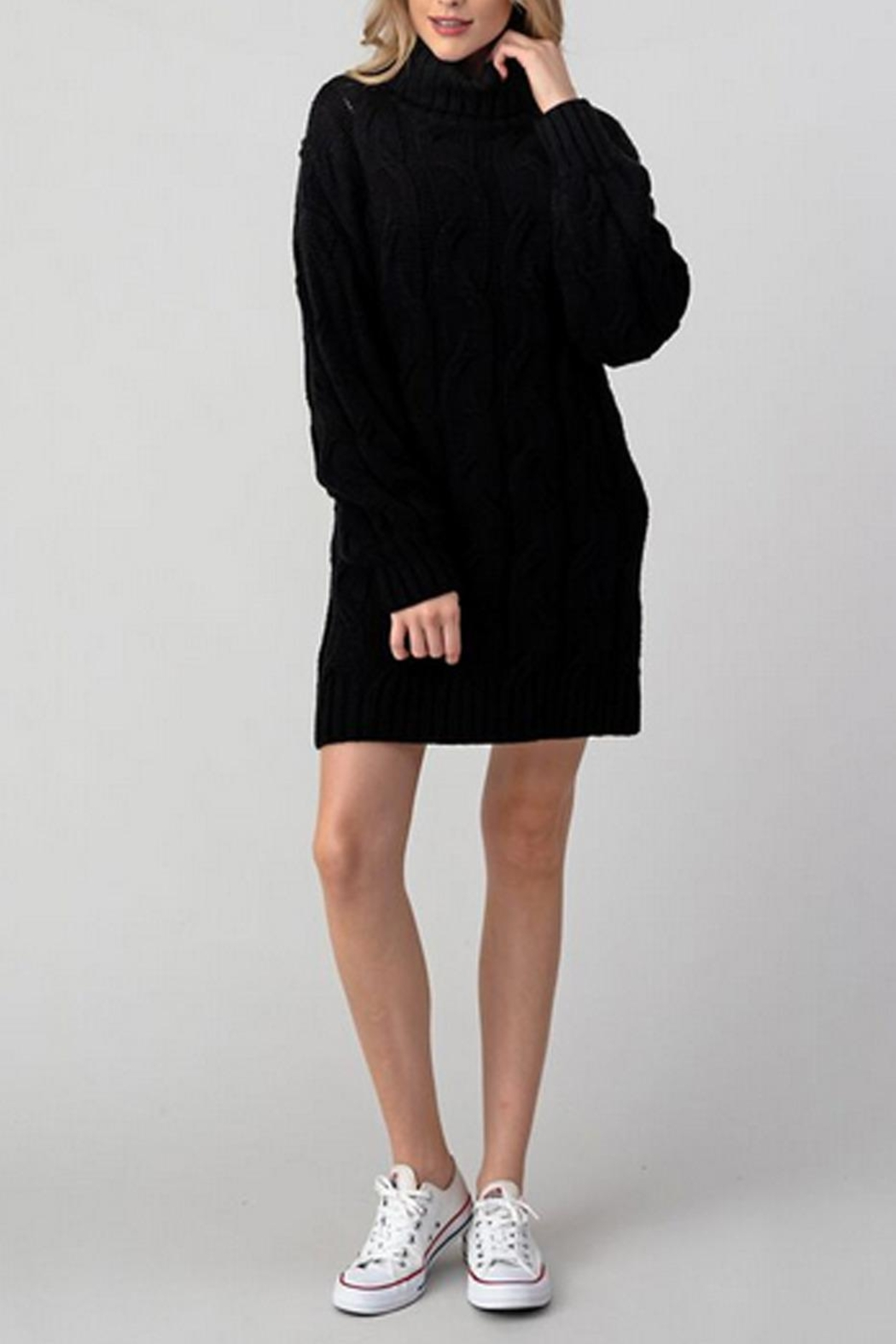 Hashttag T-Neck Sweater Dress - Front Cropped Image