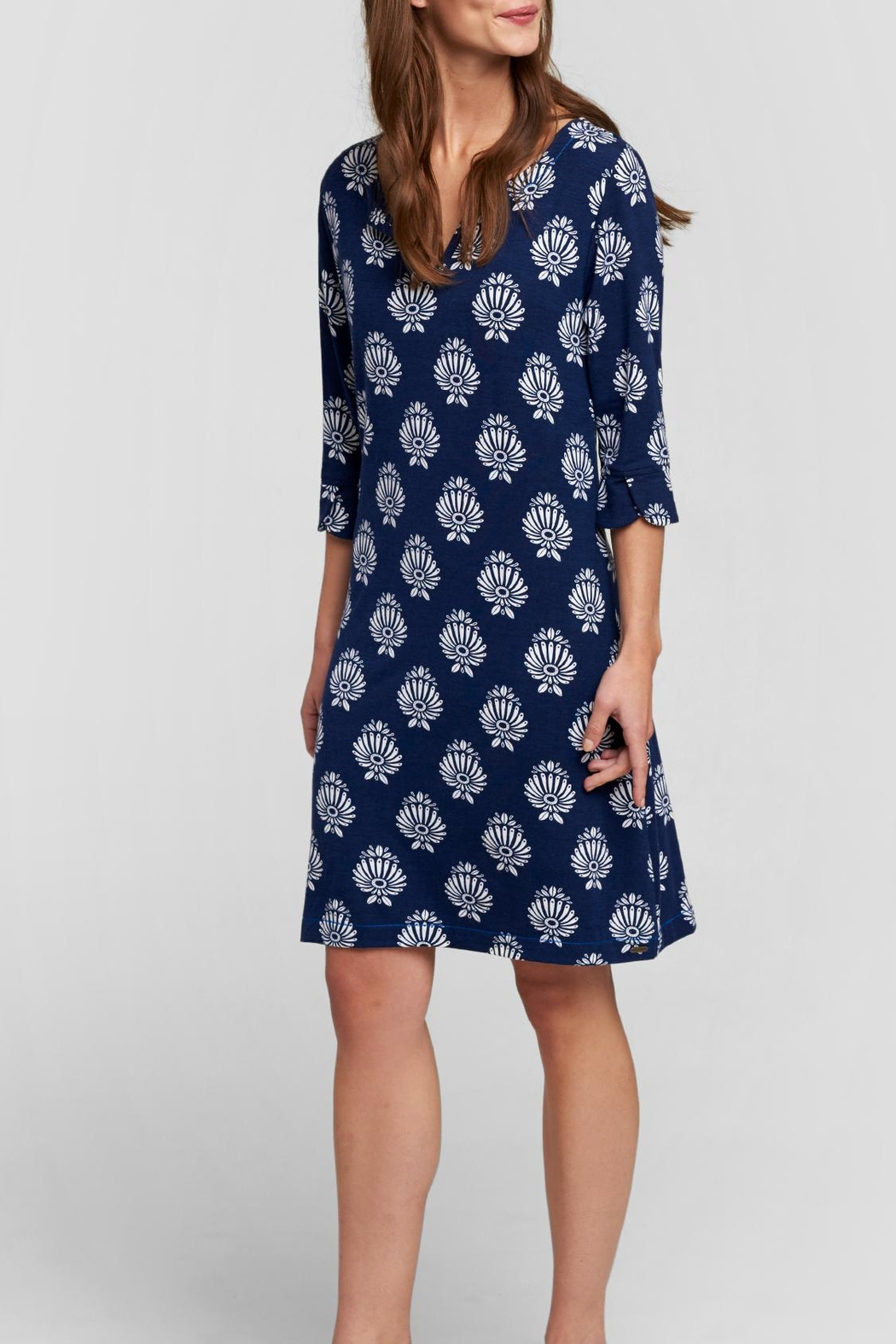 Hatley Navy Printed Knee Dress - Front Full Image