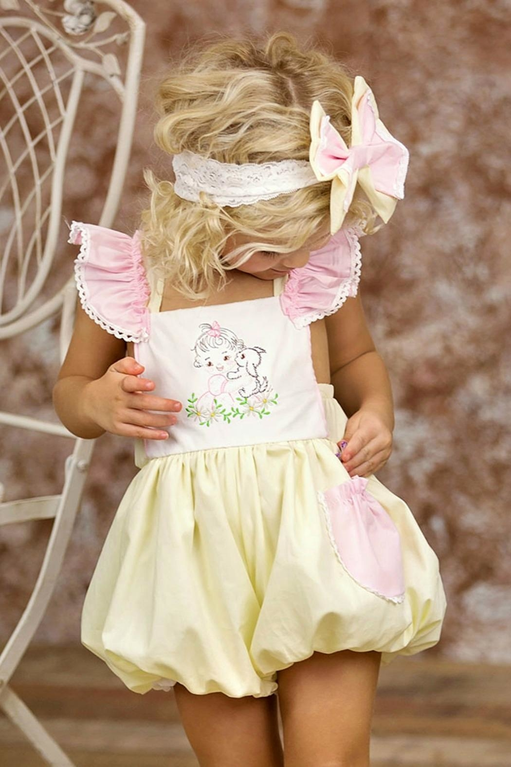 Haute Baby Cutie-Pie Embroidered Sunsuit - Front Full Image