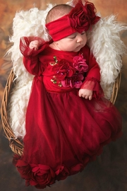 Haute Baby Ruby Gown With Headband - Product Mini Image