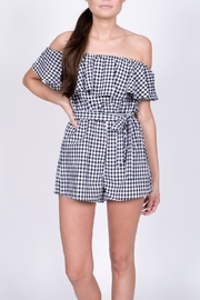 Haute Rogue Gingham Off Shoulder Romper - Product Mini Image
