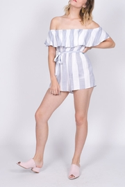 Haute Rogue Striped Off Shoulder Romper - Front full body