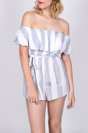 Haute Rogue Striped Off Shoulder Romper - Front cropped