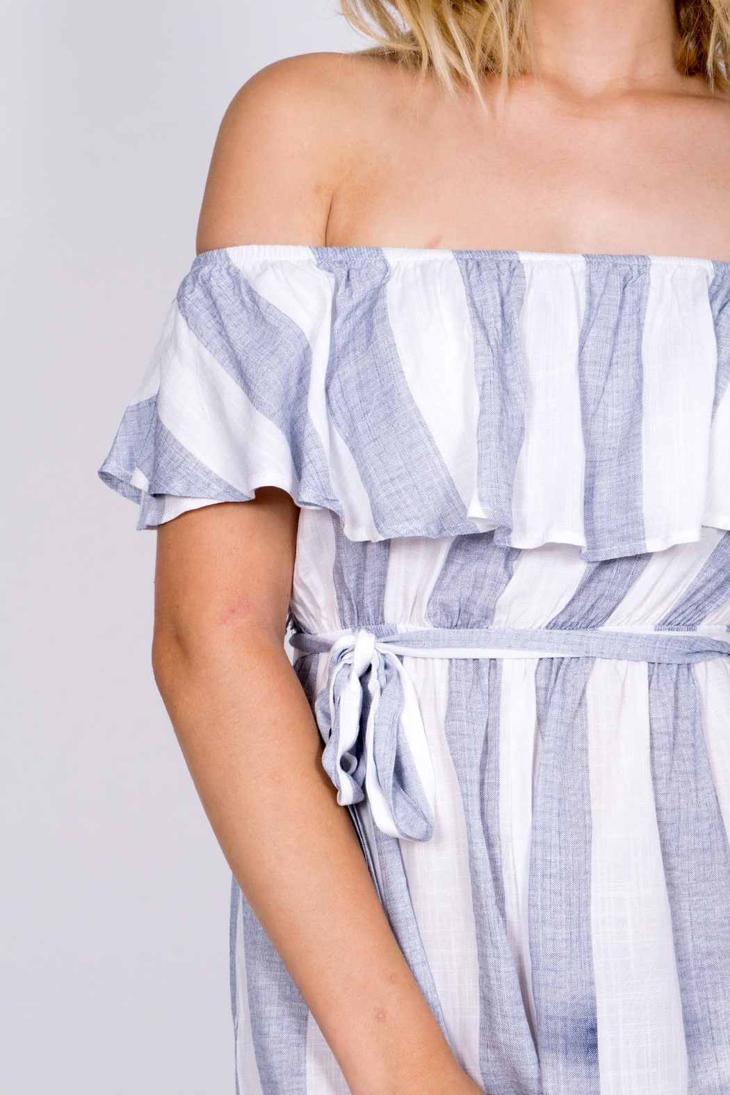 Haute Rogue Striped Off Shoulder Romper - Back Cropped Image