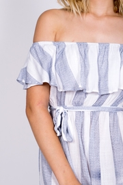 Haute Rogue Striped Off Shoulder Romper - Back cropped
