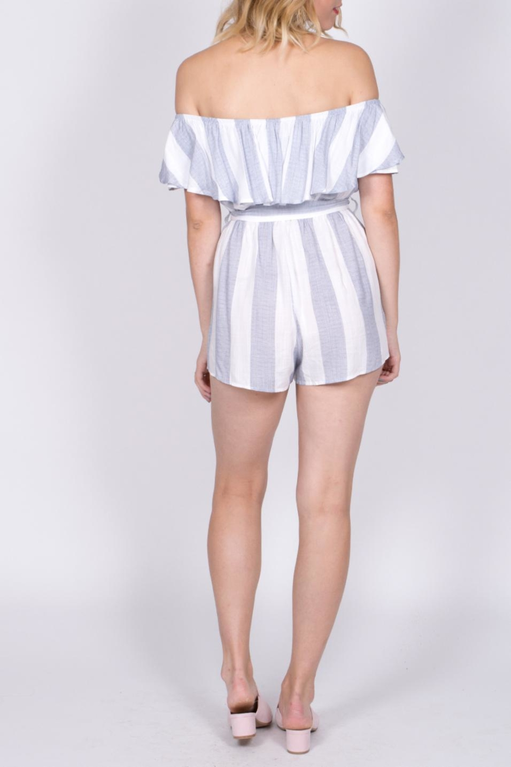 Haute Rogue Striped Off Shoulder Romper - Side Cropped Image