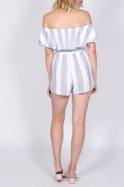 Haute Rogue Striped Off Shoulder Romper - Side cropped
