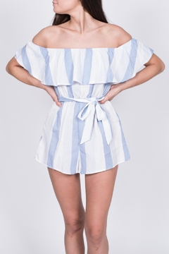 Haute Rogue Striped Off Shoulder Romper - Product List Image