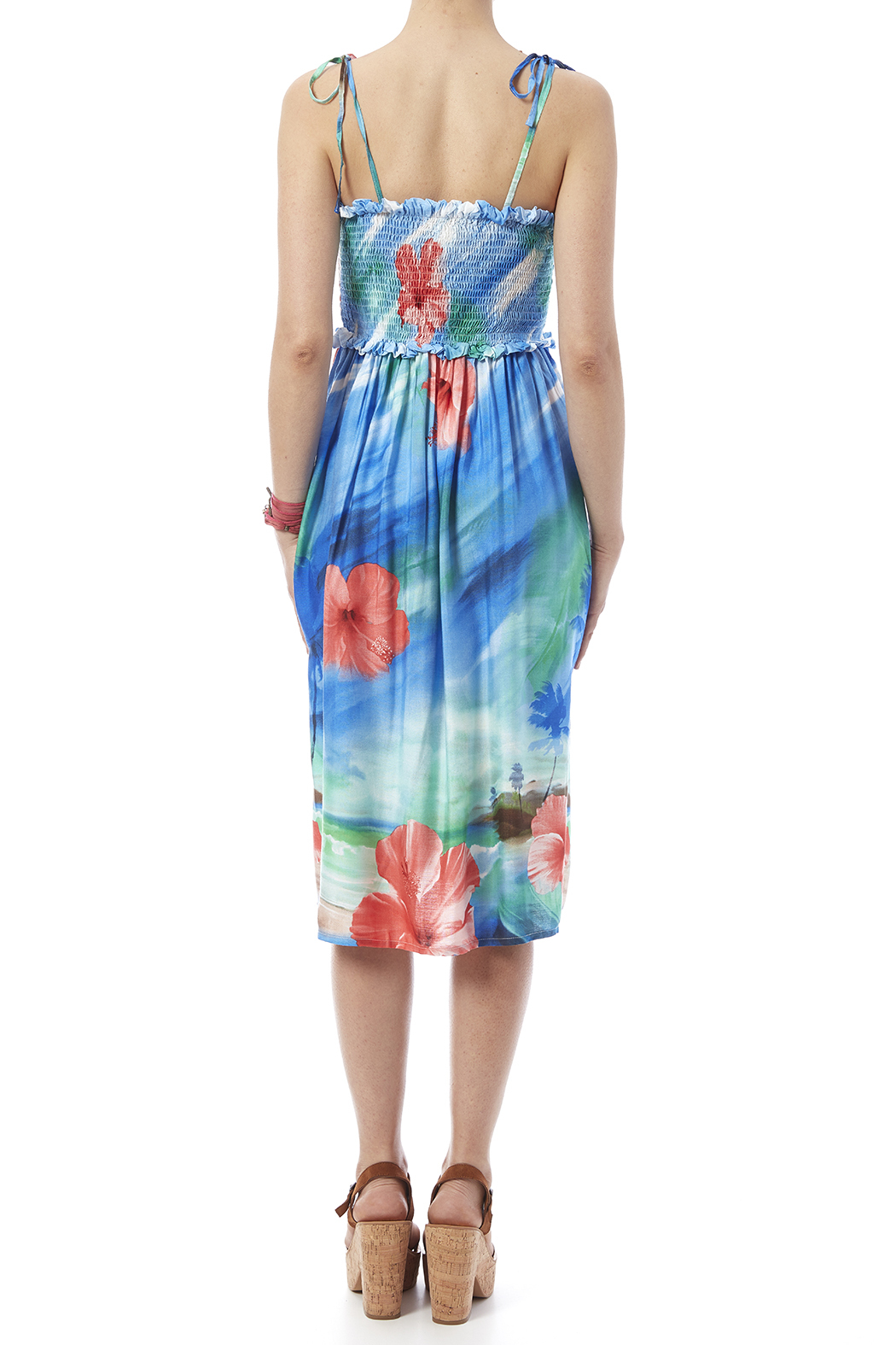 Hawaiian Watercolor Paradise Dress - Back Cropped Image