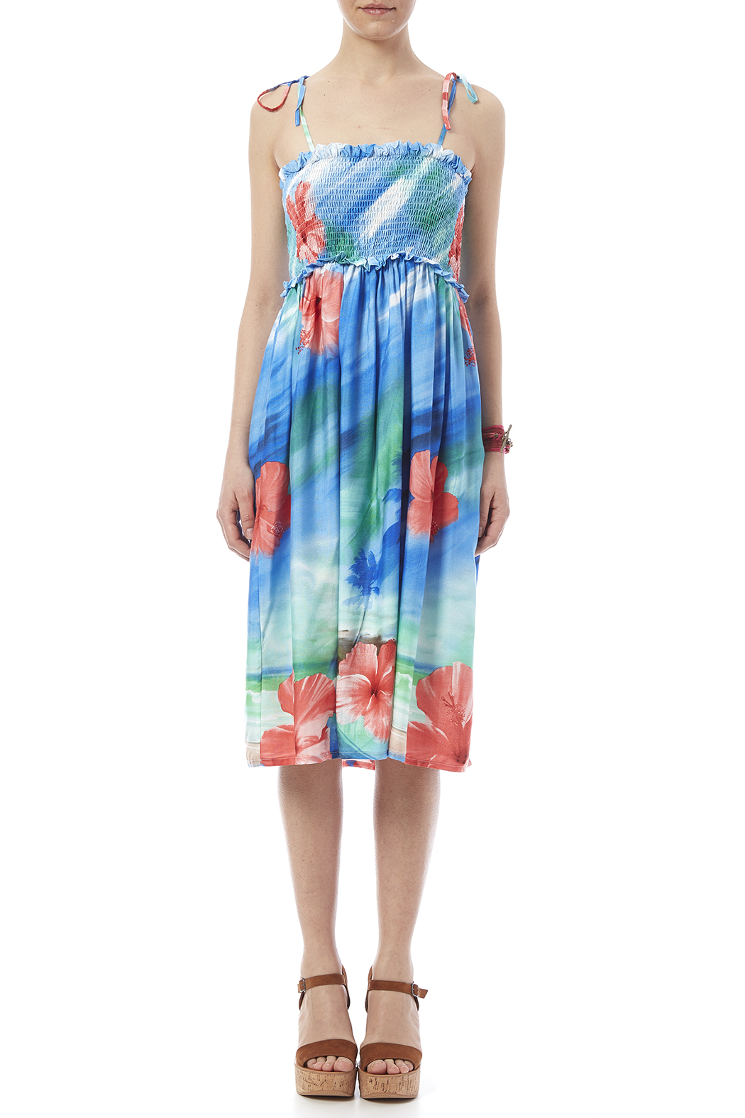 Hawaiian Watercolor Paradise Dress - Front Cropped Image