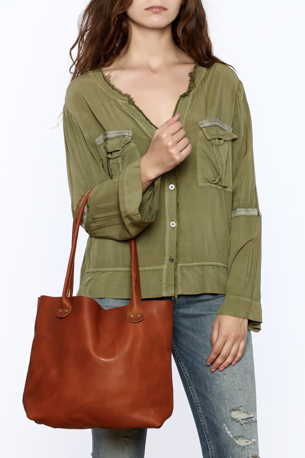 Hawks and Doves Tan Porter Tote - Back Cropped Image