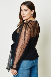 Hayden Belted Sheer Tulle Lace Top - Front full body