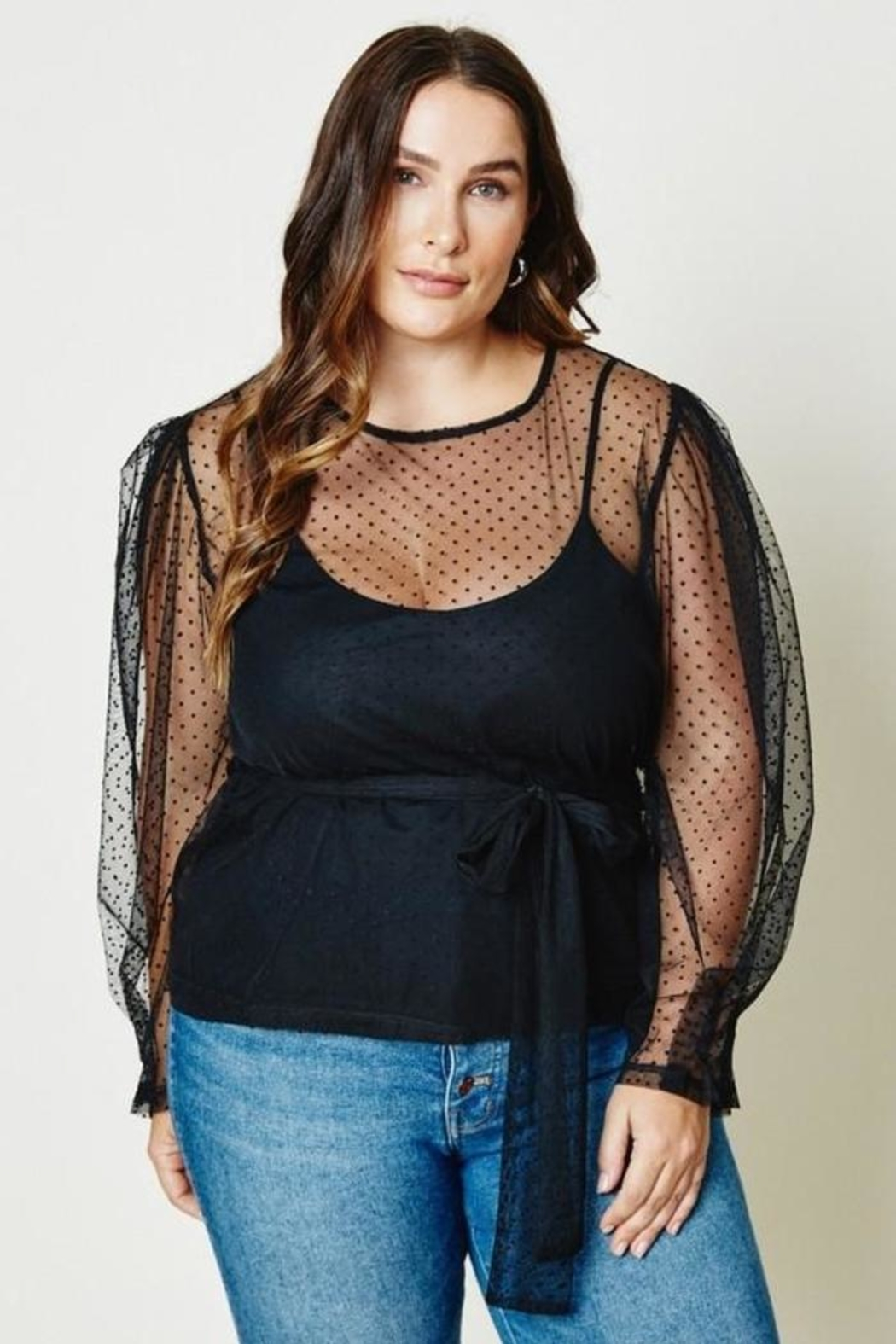 Hayden Belted Sheer Tulle Lace Top - Side Cropped Image