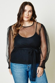 Hayden Belted Sheer Tulle Lace Top - Side cropped