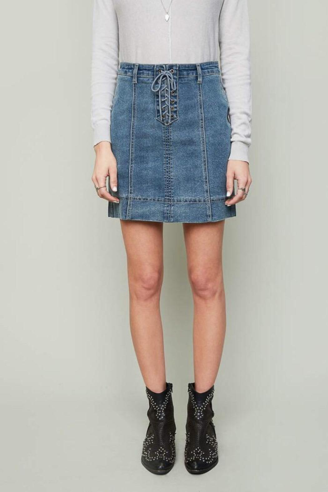 Hayden Iconic Denim Skirt - Front Cropped Image