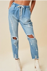Hayden Distressed Drawstring Jeans - Product Mini Image