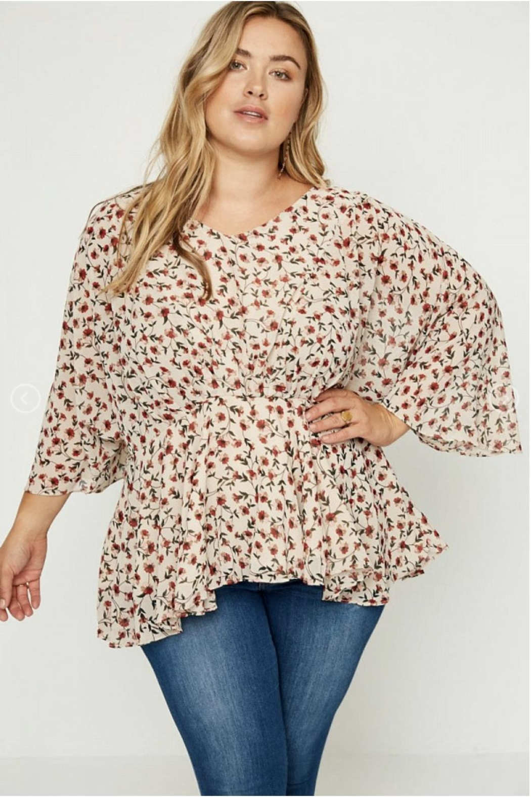 Hayden Floral Peplum Blouse - Front Cropped Image