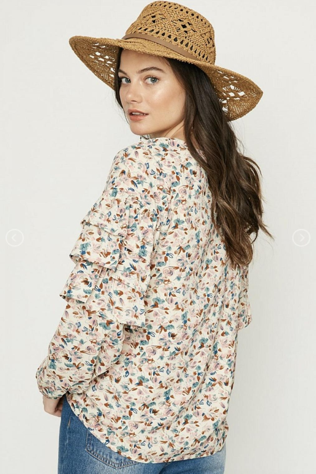 Hayden Floral Ruffle-Sleeve Blouse - Side Cropped Image