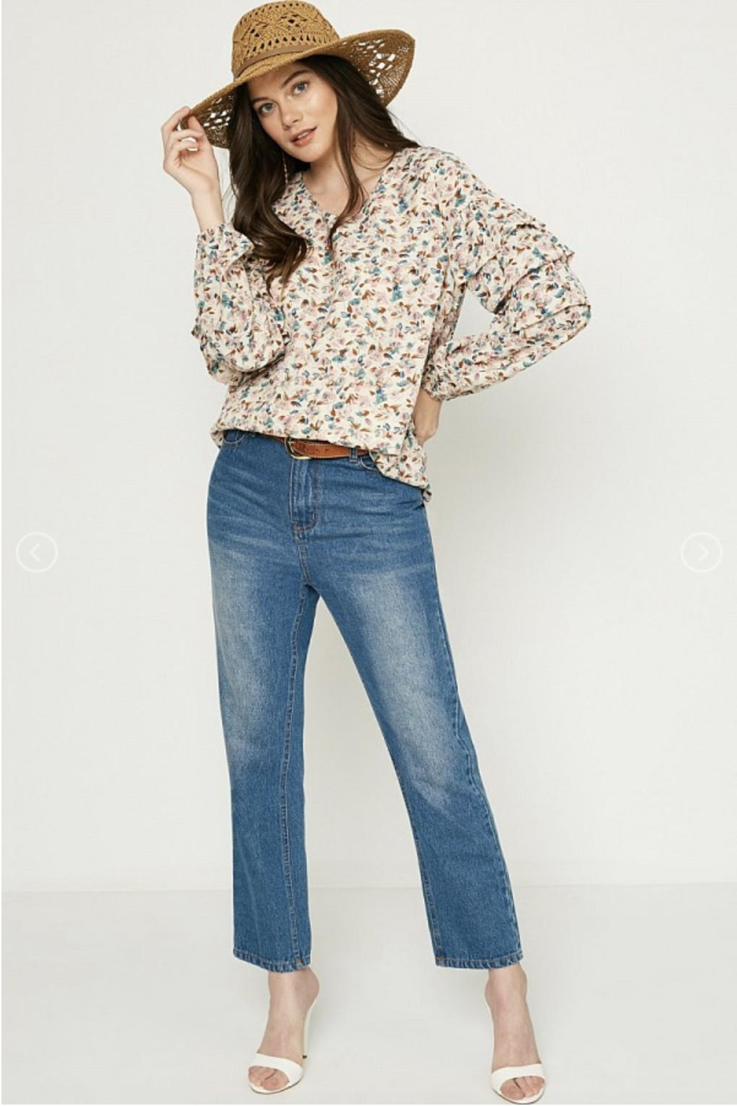 Hayden Floral Ruffle-Sleeve Blouse - Front Full Image