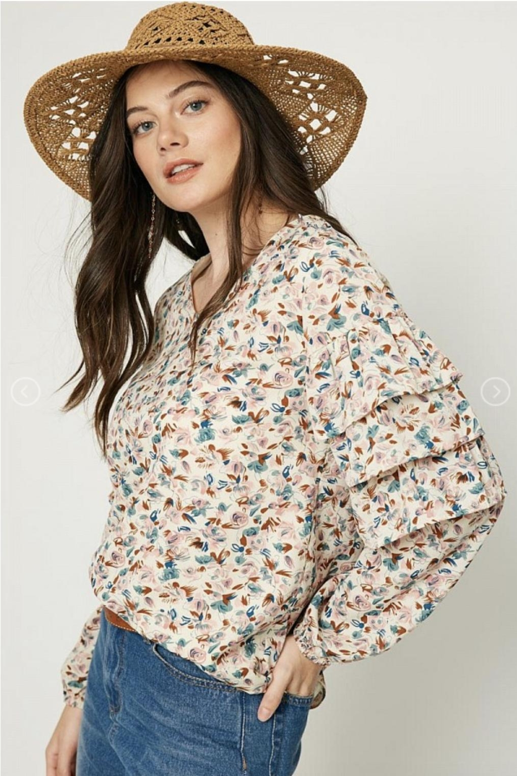Hayden Floral Ruffle-Sleeve Blouse - Main Image