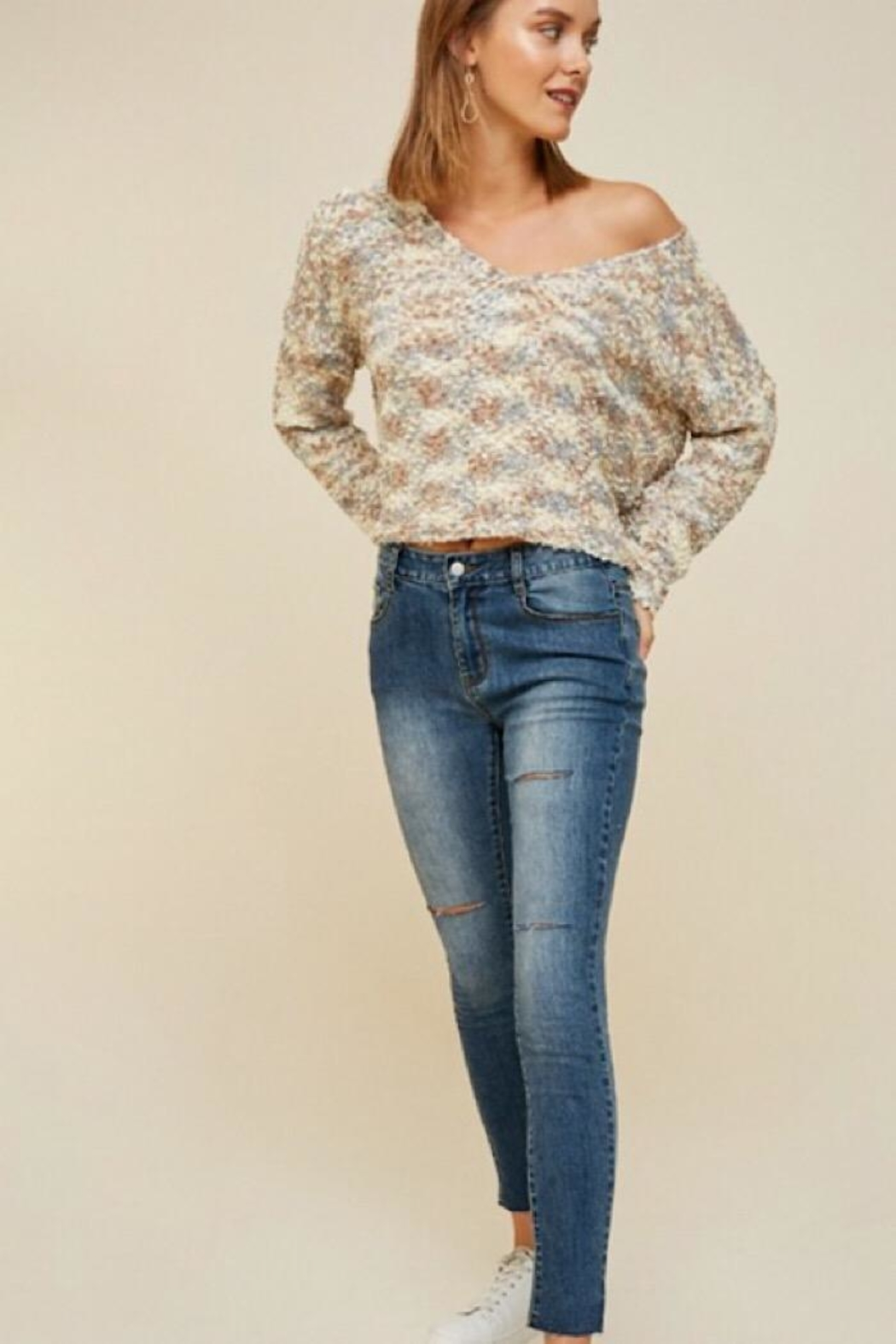 Hayden Multicolored Textured Sweater - Side Cropped Image