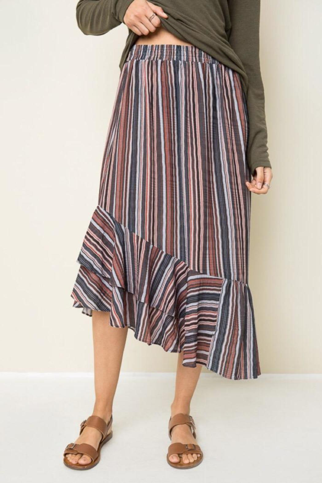 Hayden Retro Striped Skirt - Front Cropped Image