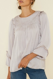 Hayden Ruched-Ruffle Puff-Sleeve Top - Front cropped