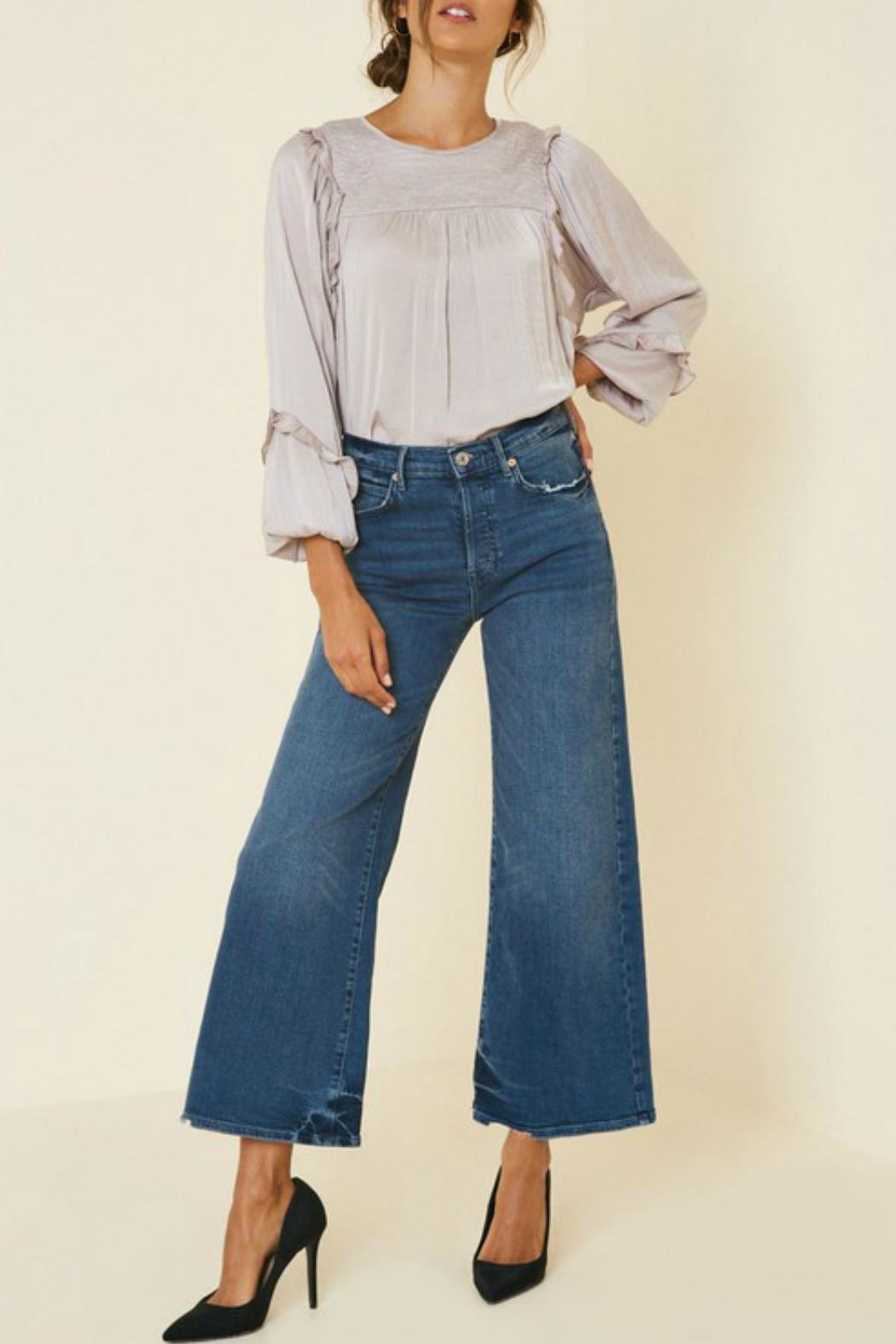 Hayden Ruched-Ruffle Puff-Sleeve Top - Back Cropped Image