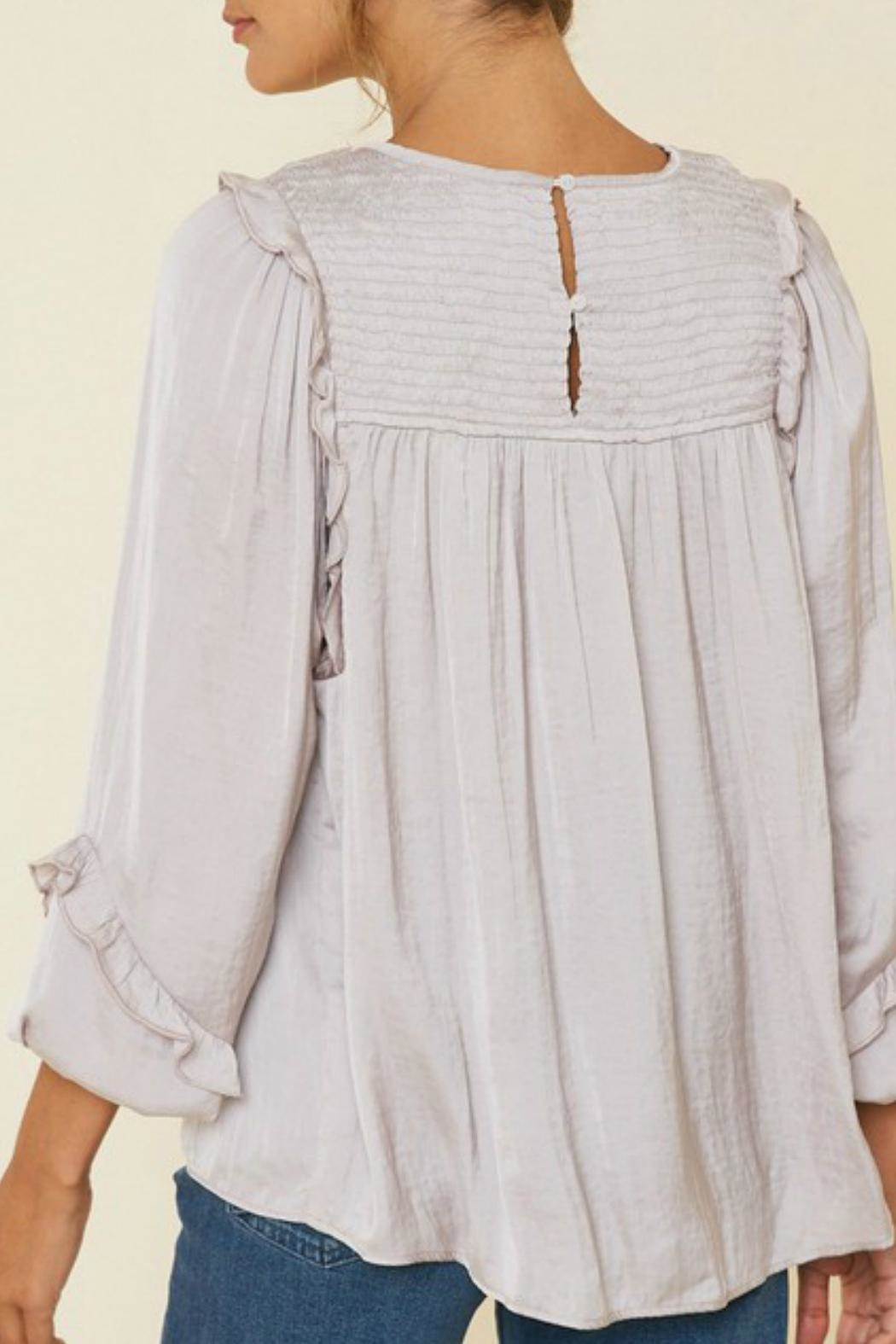 Hayden Ruched-Ruffle Puff-Sleeve Top - Front Full Image