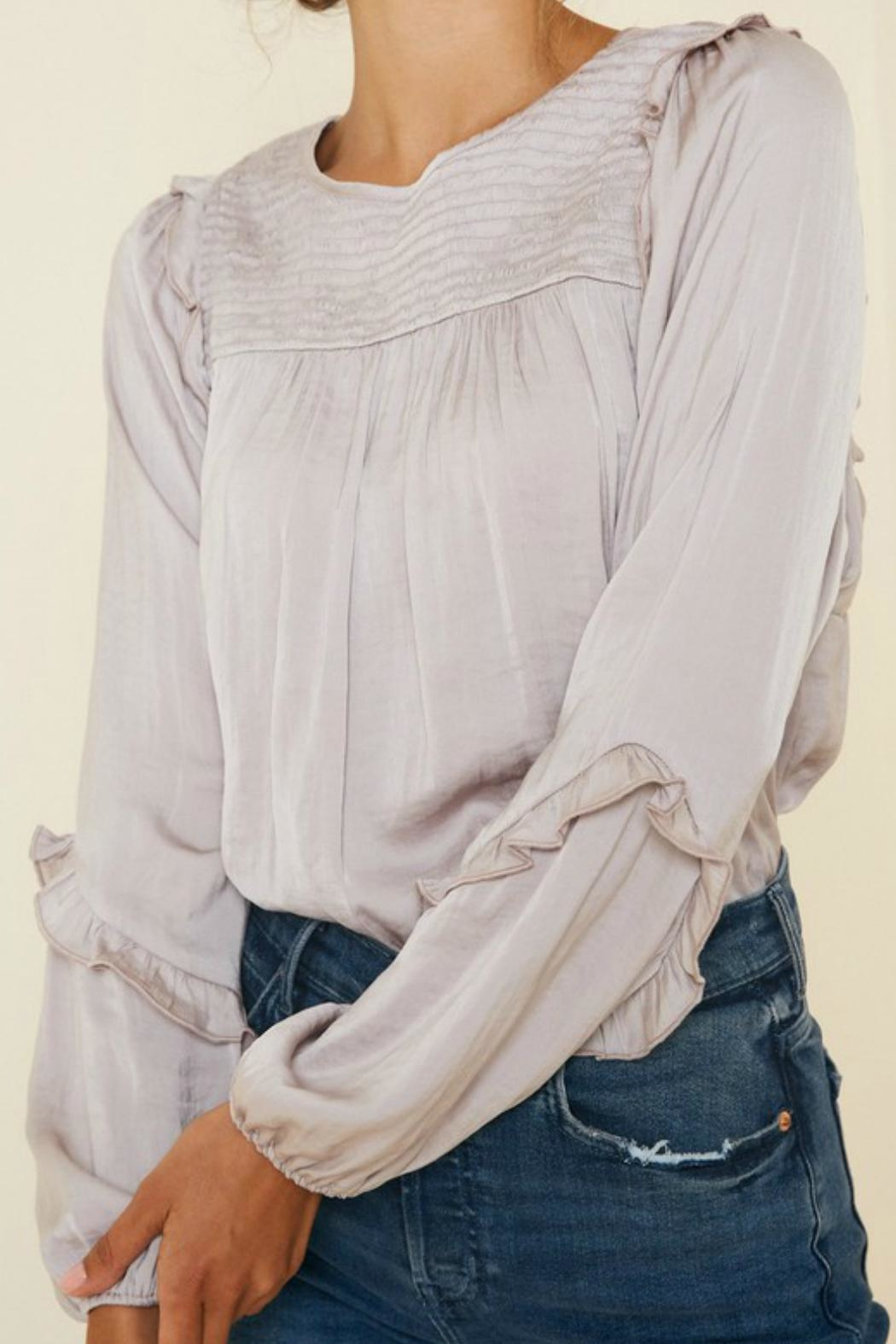 Hayden Ruched-Ruffle Puff-Sleeve Top - Side Cropped Image