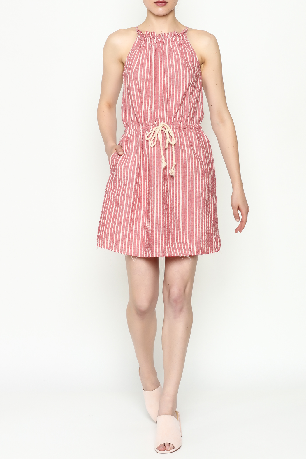 Hayden Striped Halter Dress - Side Cropped Image