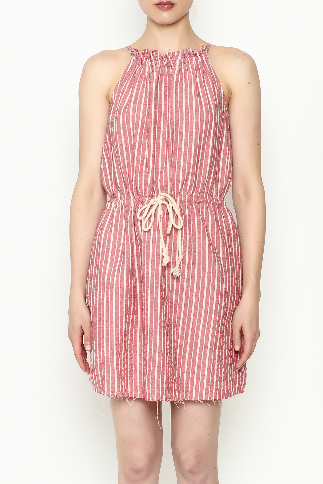 Hayden Striped Halter Dress - Front Full Image