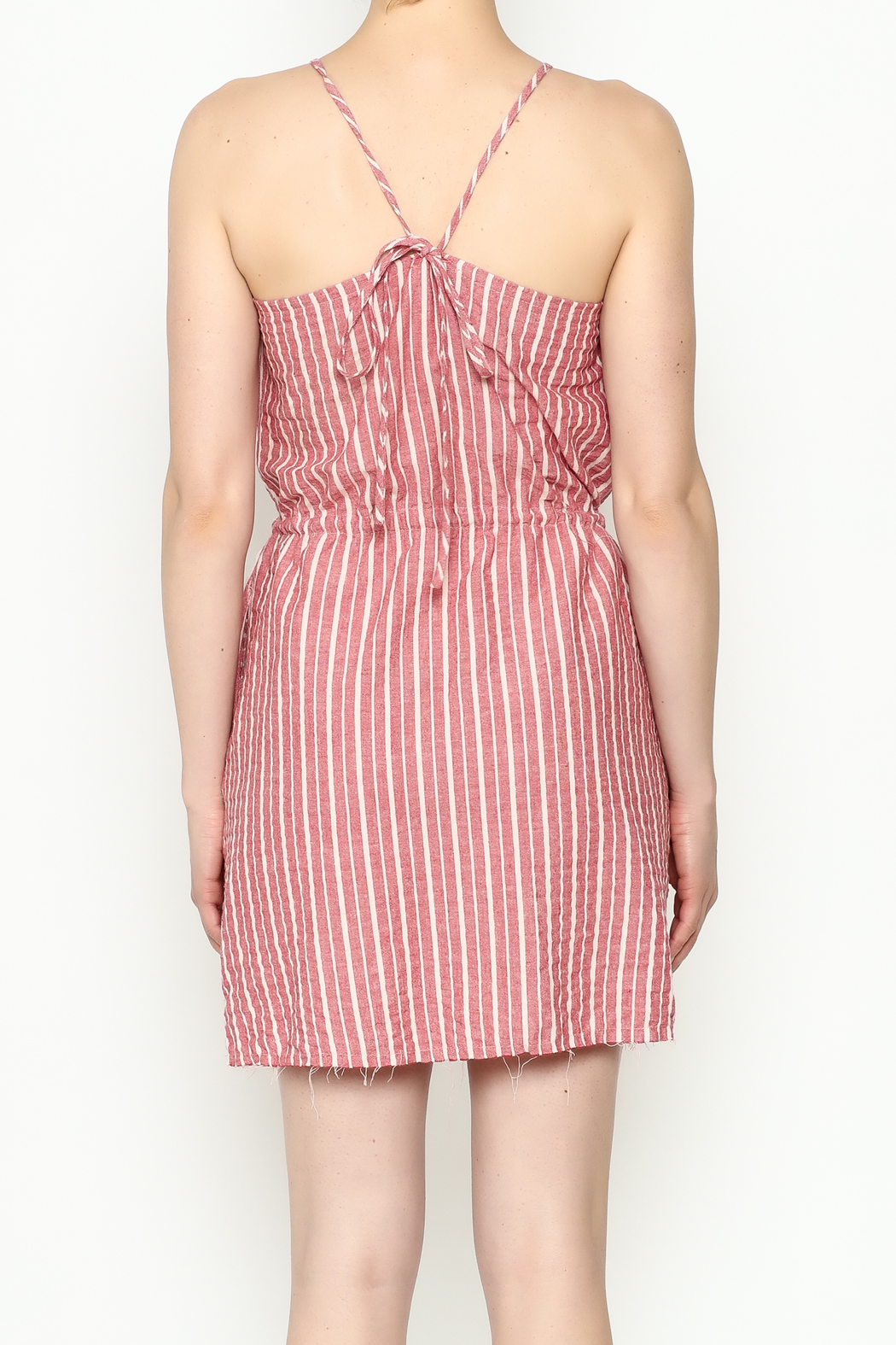 Hayden Striped Halter Dress - Back Cropped Image