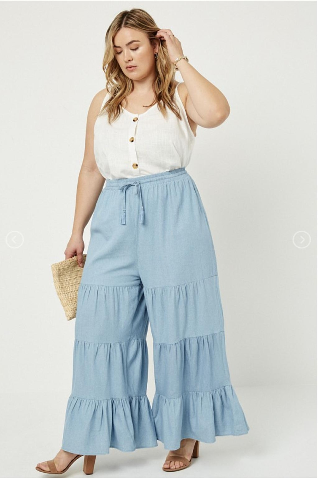Hayden Los Angeles Chambray Wide Leg Pants - Front Cropped Image