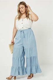 Hayden Los Angeles Chambray Wide Leg Pants - Front cropped