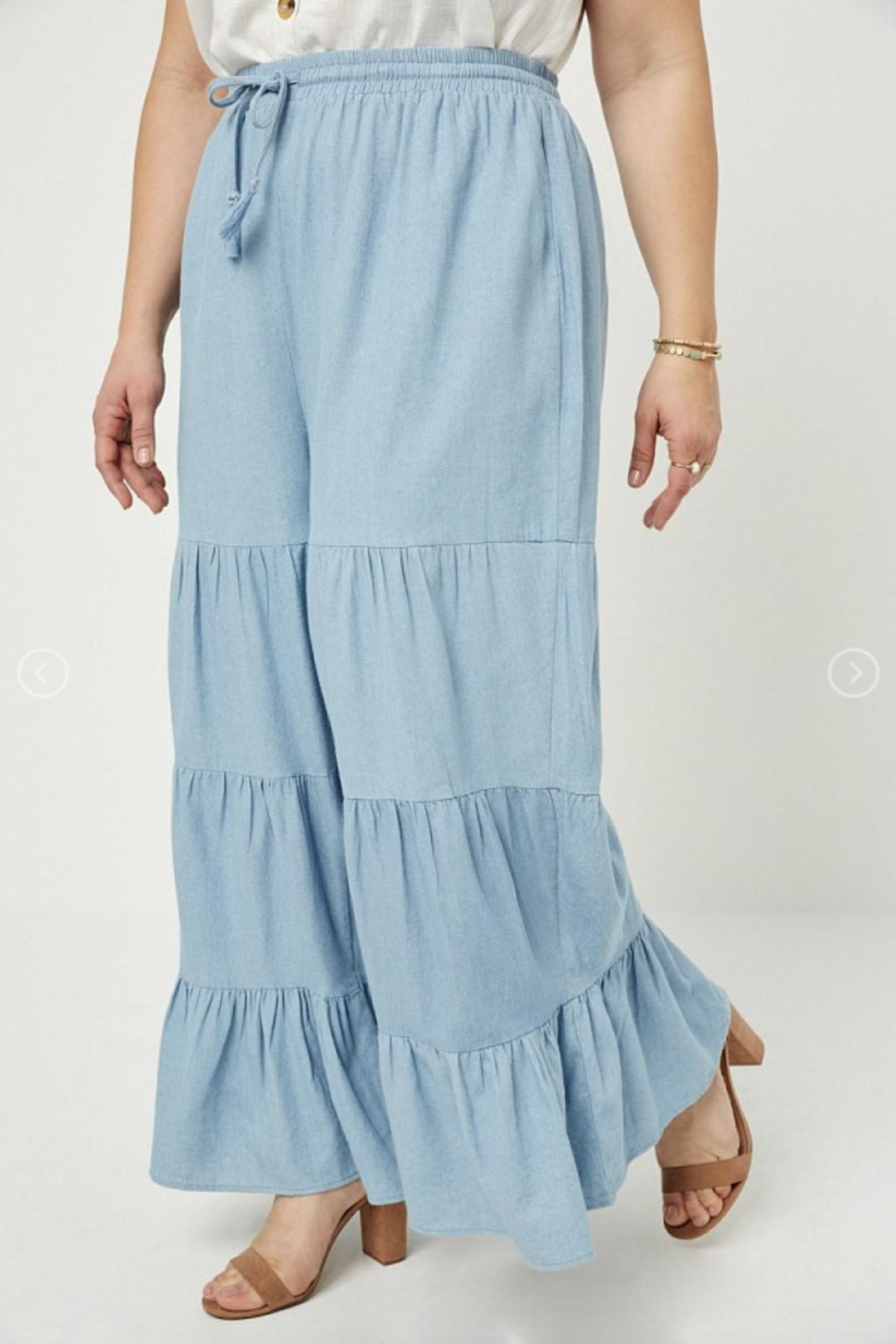 Hayden Los Angeles Chambray Wide Leg Pants - Front Full Image
